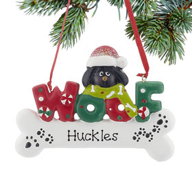 Personalized Woof Dog Bone (Black) Christmas Ornament