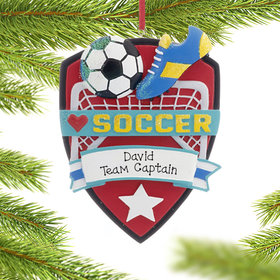 Personalized Love My Sport Soccer Christmas Ornament