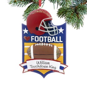 Personalized Love My Sport Football Christmas Ornament