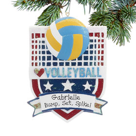 Personalized Love My Sport Volleyball Christmas Ornament