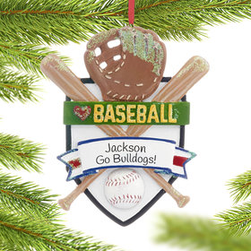 Personalized Love My Sport Baseball Christmas Ornament