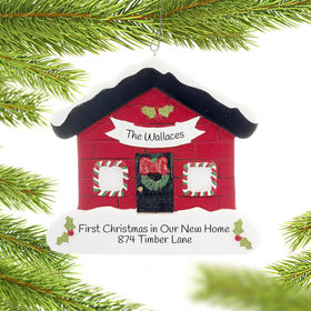 Personalized Festive Red House Christmas Ornament