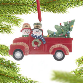 Personalized Vintage Red Truck Couple Christmas Ornament