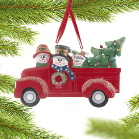 Personalized Vintage Red Truck Family of 3 Christmas Ornament