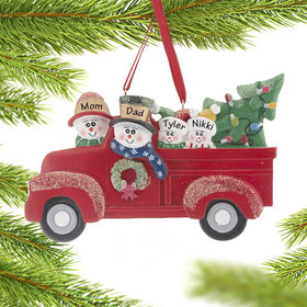 Personalized Vintage Red Truck Family of 4 Christmas Ornament