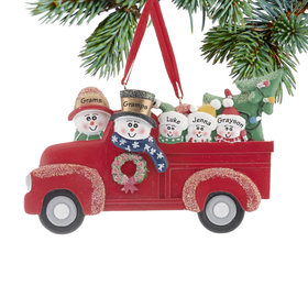 Personalized Vintage Red Truck Family of 5 Christmas Ornament