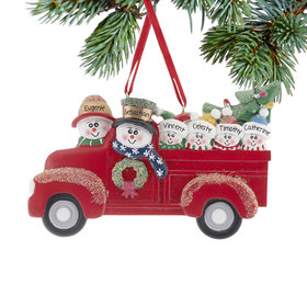 Personalized Vintage Red Truck Family of 6 Christmas Ornament