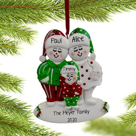 Personalized Snow Family of 3 in Pjs Ornament