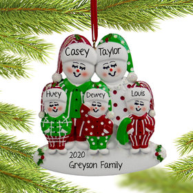 Personalized Snow Family of 5 in Pjs Christmas Ornament