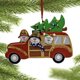 Personalized Snow Family in Station Wagon with 1 kid Christmas Ornament