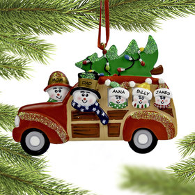 Personalized Snow Family in Station Wagon with 3 kids Christmas Ornament
