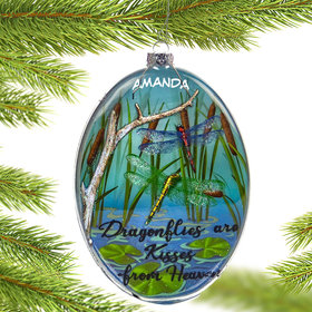 Personalized Dragonfly on Disk Christmas Ornament