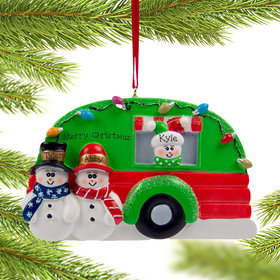 Personalized Snow Couple in Camper with 1 kid Christmas Ornament