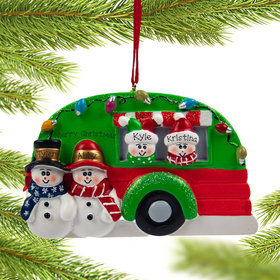 Personalized Snow Couple in Camper with 2 kids Christmas Ornament
