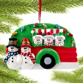 Personalized Snow Couple in Camper with 3 kids Christmas Ornament