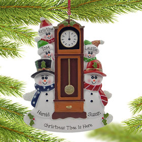 Personalized Snow Couple Around the Clock with 3 kids Christmas Ornament