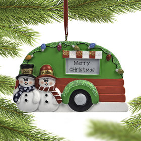 Personalized Snow Couple in Camper Christmas Ornament