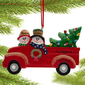 Personalized Snow Couple in Red Truck Christmas Ornament