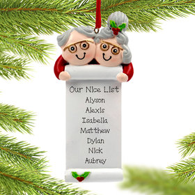 Personalized Grandma and Grandpa with List Christmas Ornament