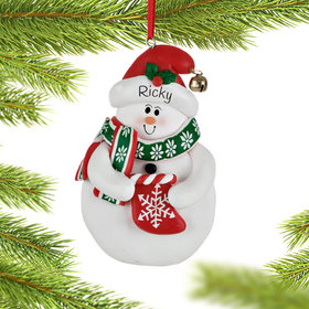 Personalized Snowman with Stocking Christmas Ornament