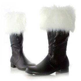 Santa Boots with Faux Fur Trimming