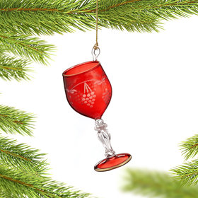 Etched Grapes Wine Glass (Red) Christmas Ornament