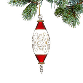Elongated Oval Shape (Christmas Red) Christmas Ornament