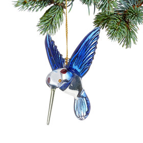 Blue and Green Hummingbird Christmas Ornament
