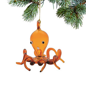 Golden Octopus Christmas Ornament