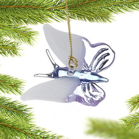 Personalized Purple Butterfly with White Wings Christmas Ornament