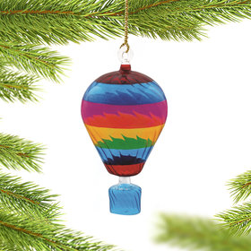Personalized Rainbow Hot Air Balloon Christmas Ornament