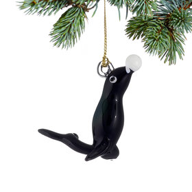 Playful Seal Christmas Ornament