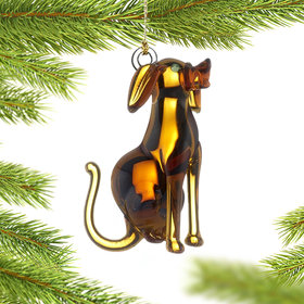 Personalized Glass Dog Christmas Ornament