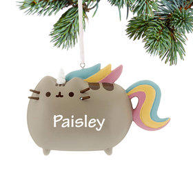 Personalized Pusheen Cat Magical Unicorn Christmas Ornament