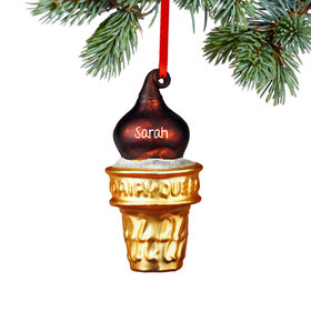 Personalized Dairy Queen Chocolate Dip Cone Christmas Ornament