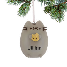 Personalized Pusheen Cat with Chocolate Chip Cookie Christmas Ornament