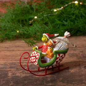 Grinch and Max in Sleigh Christmas Ornament