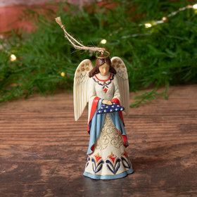 Patriotic Angel with Folded Flag Jim Shore Christmas Ornament