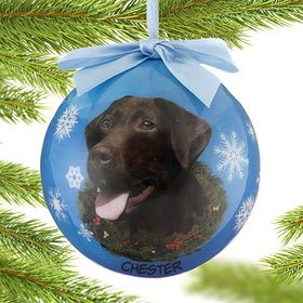 Personalized Chocolate Lab Dog Blue Ball Christmas Ornament