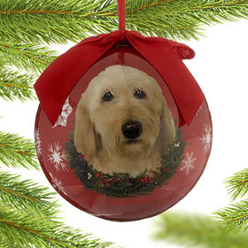 Labradoodle Dog Red Ball Christmas Ornament