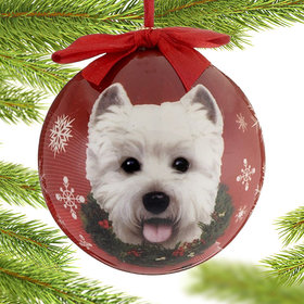 Westie Dog Red Ball Christmas Ornament