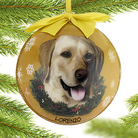 Personalized Yellow Lab Dog Yellow Ball Christmas Ornament