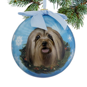 Lhasa Apso Dog Blue Ball Christmas Ornament