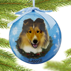 Personalized Sheltie Dog Blue Ball Christmas Ornament