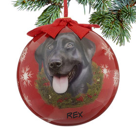 Personalized Black Labrador Dog Red Ball Christmas Ornament