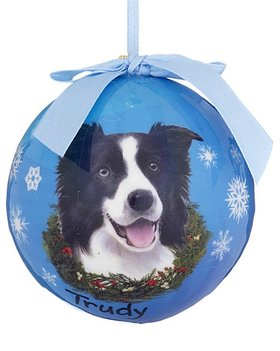 Personalized Border Collie Blue Ball Christmas Ornament