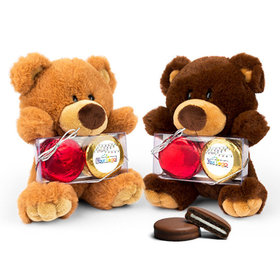 Personalized Chocolate Covered Oreo Cookies Christmas Lights Teddy Bear with Chocolate Covered Oreo 2pk