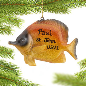 Personalized Golden Reef Butterflyfish Christmas Ornament