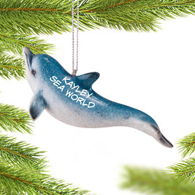 Personalized Arched Dolphin Christmas Ornament
