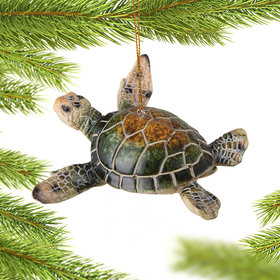 Personalized Swimming Sea Turtle Christmas Ornament